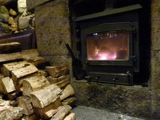 Log fire in the pub at Tobermory